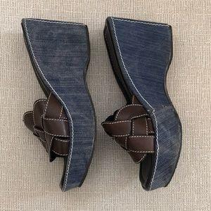 Donald J. Pliner Denim Leather Weave Wedge